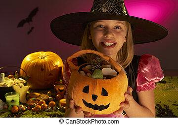 partido, mostrando, dia das bruxas, doce, criança