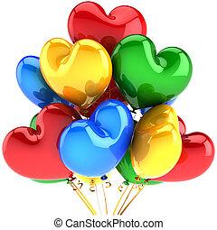 partido, multicolor, balões, corações