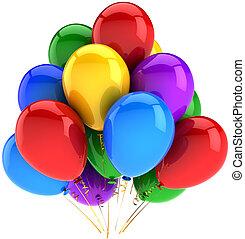 partido, multicolor, hélio, balões