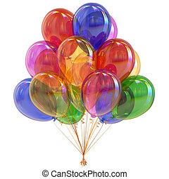partido, multicolored, balões, coloridos, grupo