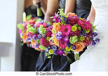 partido, nupcial, flores