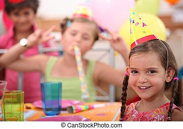 partido, pequeno, menina aniversário