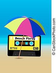 partido, praia, cartaz