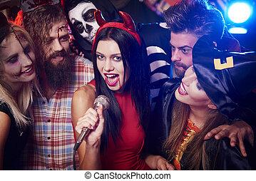 partido, principal, estrela, karaoke