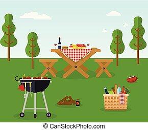 partido, recreação, ao ar livre, piquenique, bbq