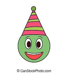 partido, smiley, chapéu, emoji