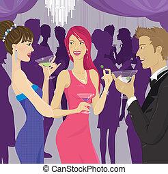 partido, socializar, coquetel, pessoas