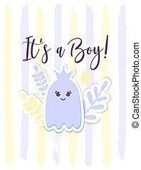 partido, tag, fantasma, calligraphy., crianças, menino, cartão, bebê, esquema, infantil, anúncio, é, berçário, chuveiro, card., seu, dia das bruxas, flower., coroa, decor.