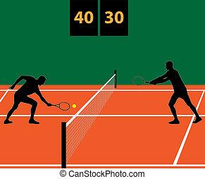 partido tenis, arcilla