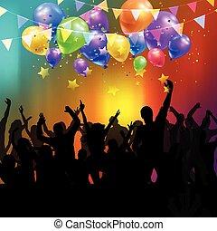 partido, torcida, com, balões, e, confetti