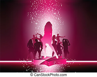 partido, torcida, dançar, estrela, cor-de-rosa, voador