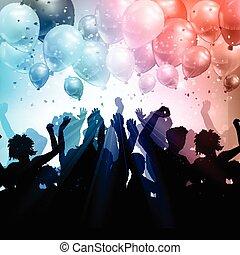 partido, torcida, ligado, um, balões, e, confetti, fundo