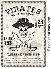partido, traje, piratas, cartaz