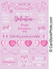 partido, valentines, vetorial, femininas, dia, jogo, galentines, dia