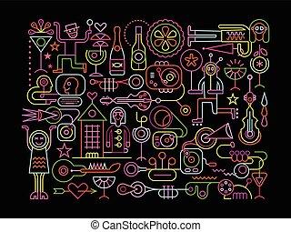 partido, vetorial, ilustração, danceteria