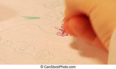 partie, 2, dessin, enfant