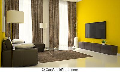 partie, 3, de, intérieur, à, murs jaunes
