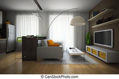 partie, appartement, moderne