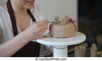 partie, argile, jeune, avenir, product., femme, poterie, attacher, produit, workshop., céramique