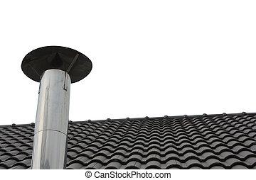 partie, cheminée, toit
