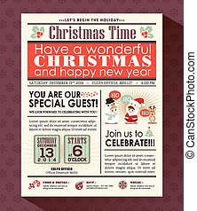 partie christmas, affiche, inviter, fond, dans, journal, style