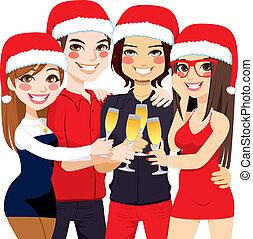 partie christmas, amis, toast