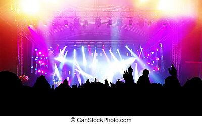partie., concert, musique discothèque, gens