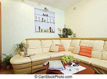 partie, drawing-room, intérieur, à, beige, coin, sofa cuir