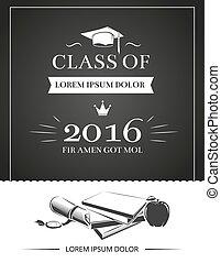 partie graduation, invitation, vecteur, carte