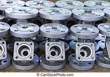 partie, industriel, fond, valves