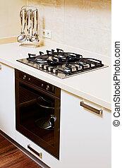 partie, moderne, cuisine, intérieur, à, gas-stove