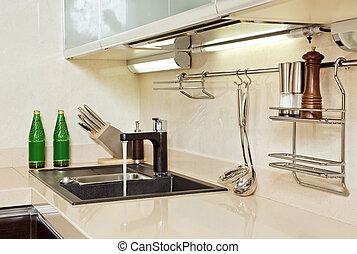 partie, moderne, cuisine, intérieur, à, sombrer