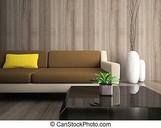partie, moderne, intérieur, à, jaune, oreiller