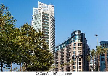 partie, nouveau, été, résidentiel, central, beyrouth, moderne, day., bâtiments, ensoleillé, lebanon.