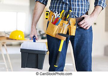 partie, ouvrier construction, mâle