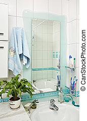 partie, petit, moderne, salle bains, intérieur, à, miroir