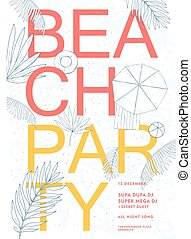 partie plage, coloré, hawaï, poster., été, événement, festival, vecteur, illustration, placard.