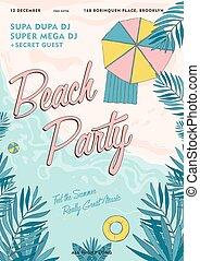partie plage, exotique, affiche, colorful., été, événement, festival, vecteur, illustration, placard.