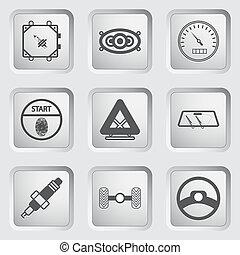 partie voiture, et, service, icônes, ensemble, 7.