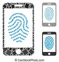 parties, icône, mosaïque, empreinte doigt, mobile, ...
