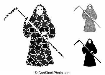 parties, rugueux, scytheman, icône, composition
