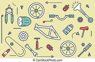 parties, vélo, illustration.