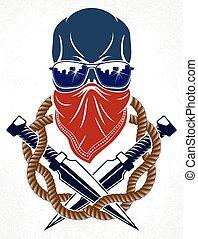 partigiano, o, cranio, tumulto, anarchia, tatuaggio, revolutionary., emblema, caos, logotipo, vettore, cattivo, aggressivo, ribelle, rivoluzione