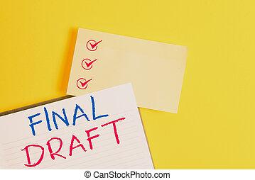 partij, kopiëren papier, na, conceptueel, draft., gele, versie, rewriting, foto, zakelijk, sinaasappel, het tonen, tafel., lege, iets, ruimte, hand het schrijven, opmaak, eind-, tekst