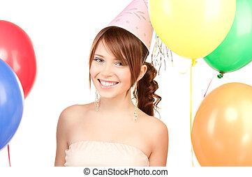 partij meisje, met, ballons