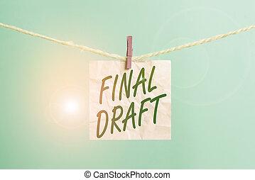 partij, papier, na, conceptueel, draft., versie, hout, rewriting, foto, witte , clothesline, herinnering, het tonen, wasknijper, iets, desk., gevormd, rechthoek, opmaak, eind-, tekst, meldingsbord