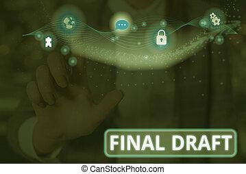 partij, tekst, concept, draft., opmaak, betekenis, eind-, iets, rewriting., na, handschrift, versie