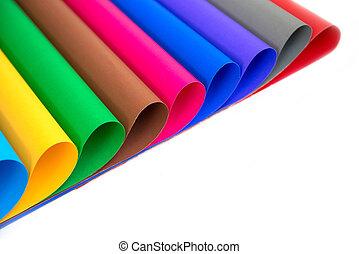 partij, van, kleuren papier, voor, handwerken, idee