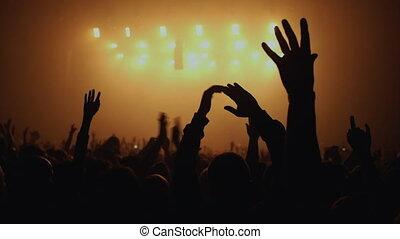 partij, van, mensen, handgeklap, op, concert.