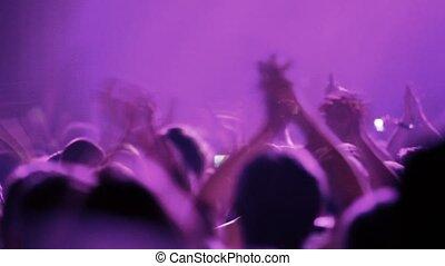 partij, van, mensen, handgeklap, op, rave, feestje
